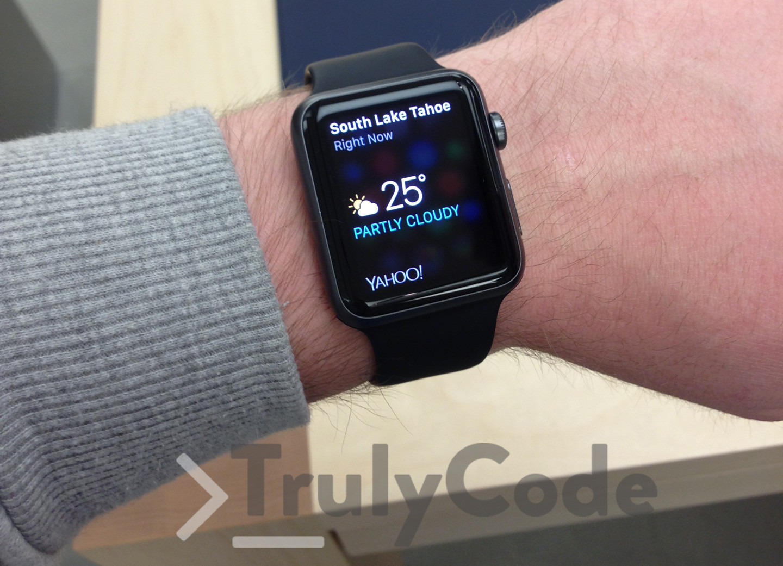 Black Apple watch on wrist