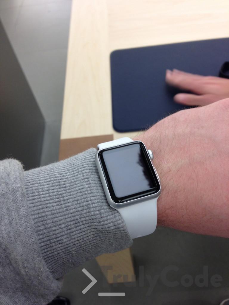 white apple watch on wrist