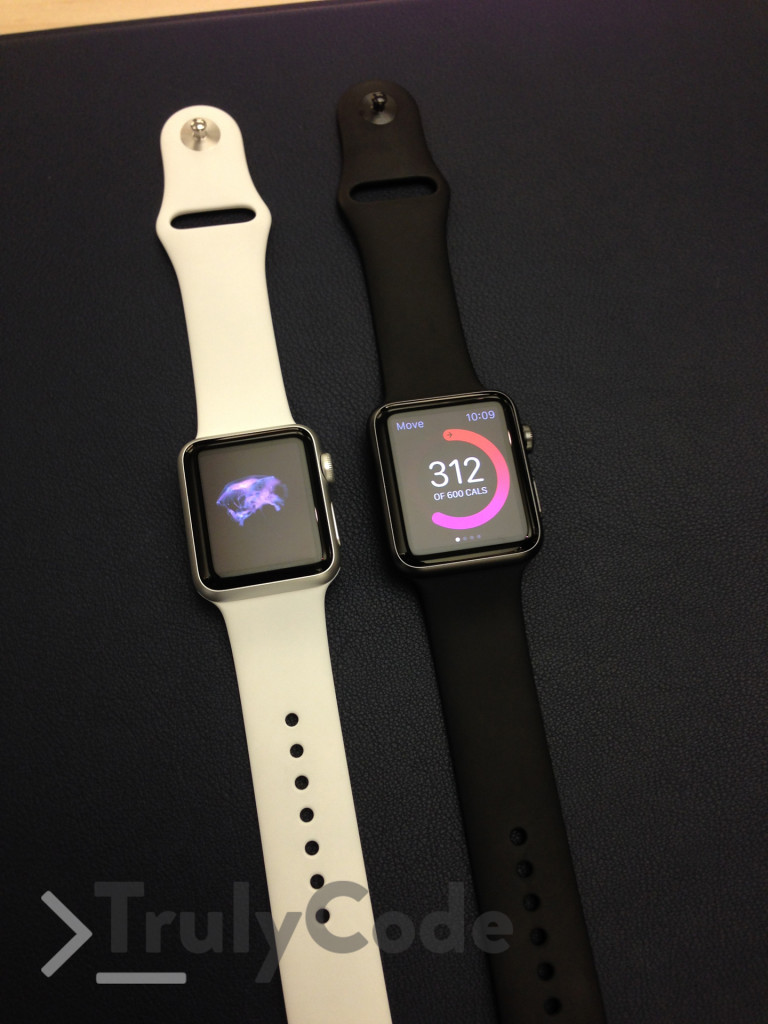 Apple watch white and black side by side
